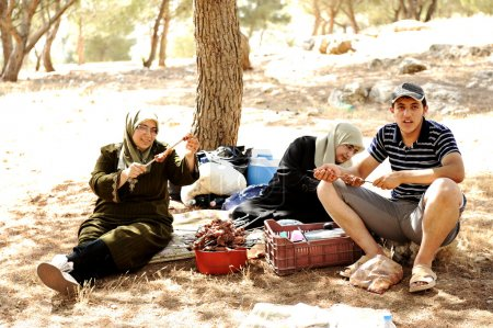Arabic family on picnic in nature