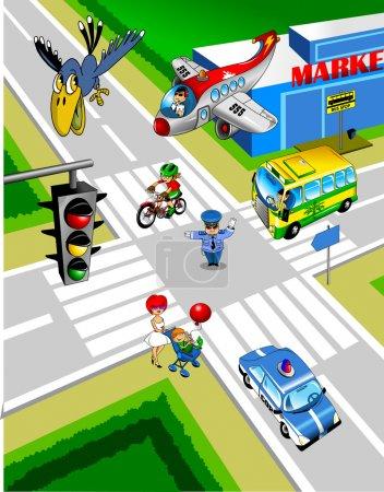 Illustration pour Intersection de la ville. Un policier contrôle la circulation ; - image libre de droit