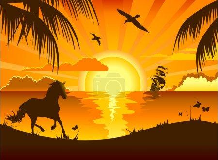 Illustration pour Coucher de soleil sur la mer surplombant la plage et nager voilier (illustration ); - image libre de droit