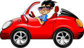 Young man in dark glasses driving a red sports car (illustration);