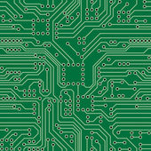 Green computer circuit board Seamless pattern Vector