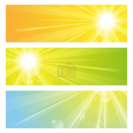 Illustration for Set of vector banners with sunshine - Royalty Free Image