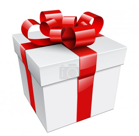 Illustration for Vector gift box with red ribbon and bow. - Royalty Free Image