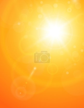 Illustration for Summer natural background with sun and lens flare. - Royalty Free Image
