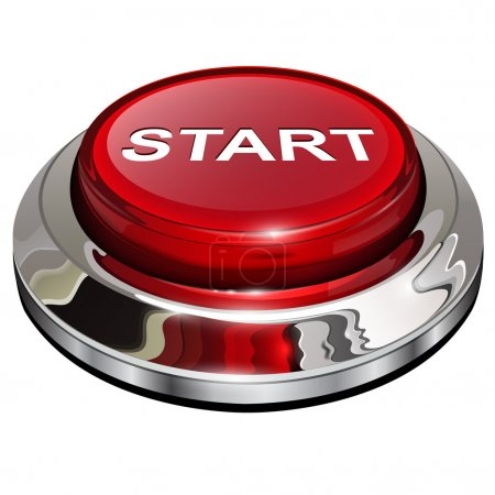 Illustration for Start button, 3d red glossy metallic icon, vector. - Royalty Free Image