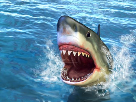 Great white shark jumping out of water with its op...