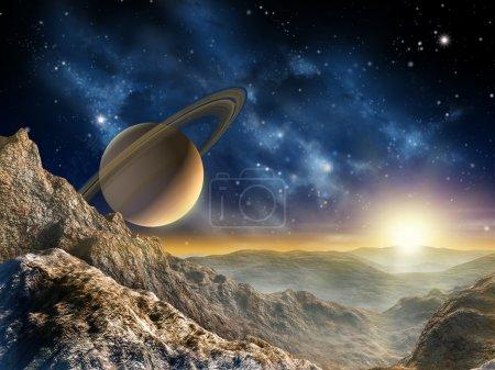 Photo pour Spacescape magnifique vu sur l'une des lune de Saturne. illustration numérique. - image libre de droit