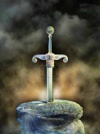 Photo pour Ancienne épée dans un rocher. Illustration numérique - image libre de droit