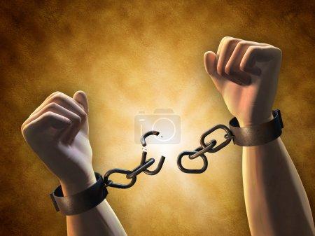 Photo pour Récupérer la liberté : un homme brisant une chaîne. Illustration numérique . - image libre de droit
