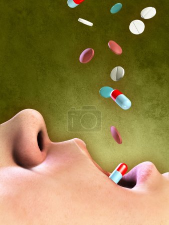 Photo for Different pills falling into an open mouth. Digital illustration. - Royalty Free Image