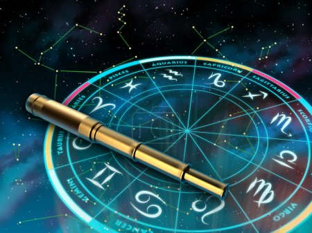 Photo for Wheel of the zodiac and telescope over a sky background. Digital illustration. - Royalty Free Image