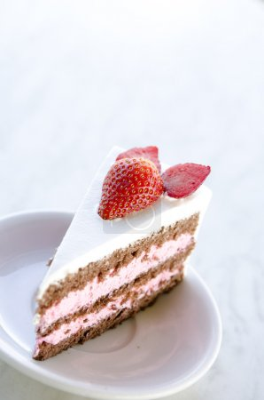 Strawberry cake in the morning