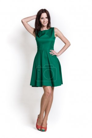 Beautifull woman in green dress