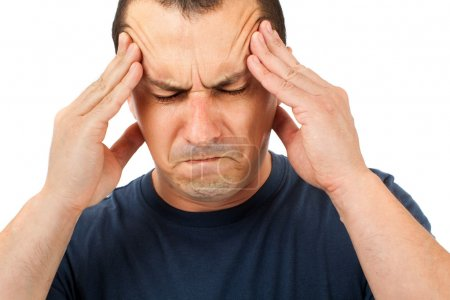 Man with strong headache