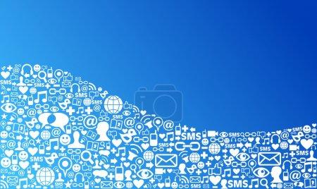 Illustration pour Bleu icônes de médias sociaux dans la mise en forme de vague. fichier vectoriel en couches pour une manipulation facile et de la coloration personnalisée. - image libre de droit