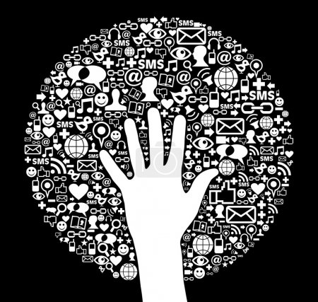 Social media network icon circle and hand