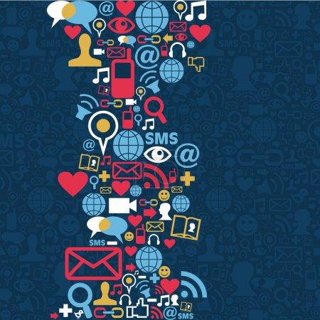 Illustration pour Icônes de médias sociaux dans la mise en forme de vague. fichier vectoriel en couches pour une manipulation facile et de la coloration personnalisée. - image libre de droit