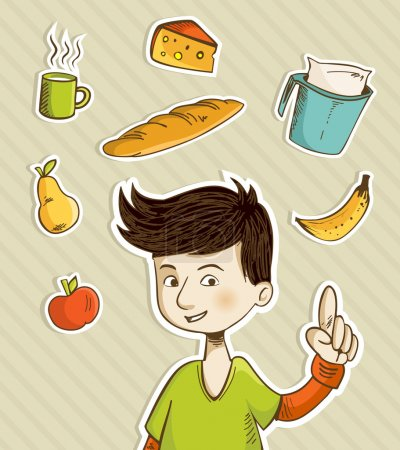 Cartoon teenager shows healthy food