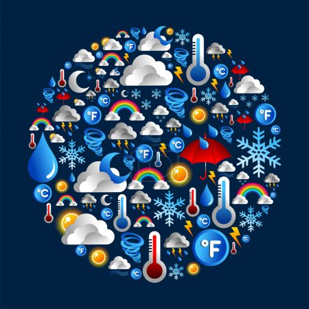 Illustration for Weather icon set in circle shape over blue background. Vector file layered for easy manipulation and custom coloring. - Royalty Free Image