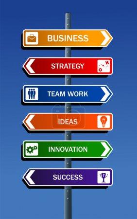 Illustration pour Stratégie d'entreprise route post concepts pour le succès. Fichier vectoriel stratifié pour une manipulation facile et une coloration personnalisée . - image libre de droit