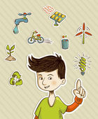 Go green teenager shows eco friendly icons