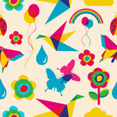 Colorfull spring summer origami seamless pattern Vector file layered for easy manipulation and custom coloring
