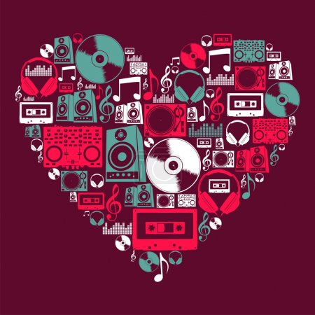 Photo pour Icône de musique DJ en forme de coeur amoureux. Fichier vectoriel stratifié pour une manipulation facile et une coloration personnalisée. - image libre de droit