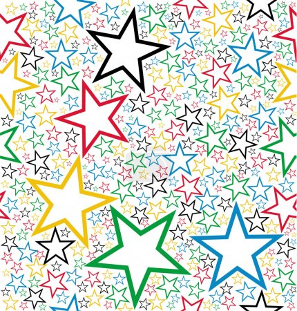 Illustration for Multicolored stars seamless pattern background. Vector file layered for easy manipulation and customisation. - Royalty Free Image