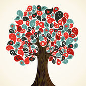 Abstract musical floral tree with icons Vector illustration layered for easy manipulation and custom coloring