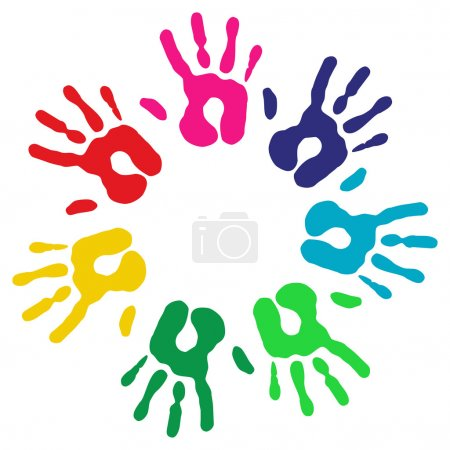Multicolor diversity hands circle