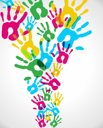 Multicolor diversity hands splash