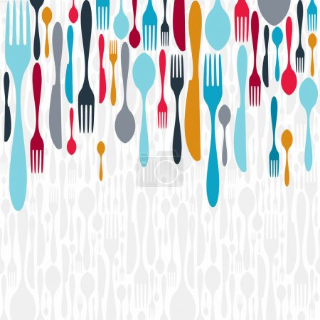 Multicolored cutlery icons background. Vector illu...