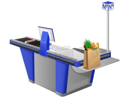 Illustration pour Caisse enregistreuse terminal et sac à provisions avec illustration vectorielle des aliments - image libre de droit