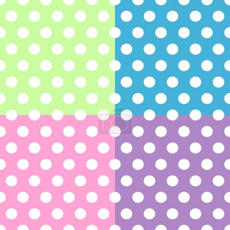 Illustration for Seamless pattern of cute, fun and bold white polka dots patterns over pink, purple, green and blue squares background, can be used separately or together. - Royalty Free Image