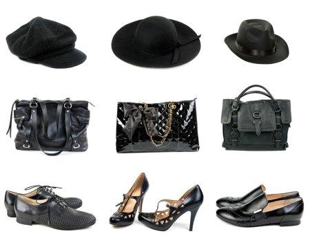 Three sets of hats, handbags and shoes.