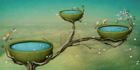 Three bowls of water on the tree.