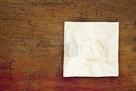 Napkin with coffee stains