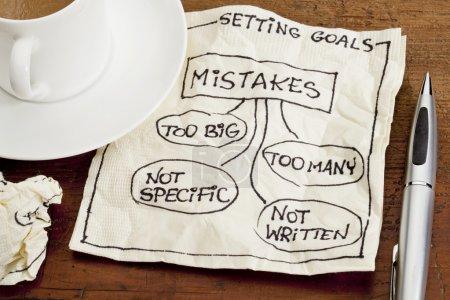 Photo pour Erreurs communes à fixer des objectifs (trop nombreux, trop gros, pas spécifiques, pas écrites) - une esquisse de dessin sur une serviette cocktail avec une tasse de café - image libre de droit