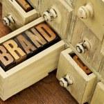 Brand word in vintage letterpress wood type in a d...