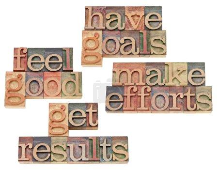 Photo pour Ont des objectifs, faire des efforts, obtenir des résultats, se sentir bien - motivation et concept de succès - collage de texte isolé dans le bois de la typographie vintage type - image libre de droit