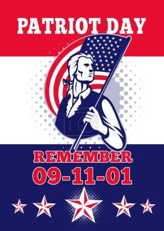 Photo pour Illustration de carte de voeux de poster d'un soldat révolutionnaire de patriot minuteman, organisant une américaine bannière étoilée drapeau et mots patriote journée n'oubliez pas le 11 septembre 2001. - image libre de droit