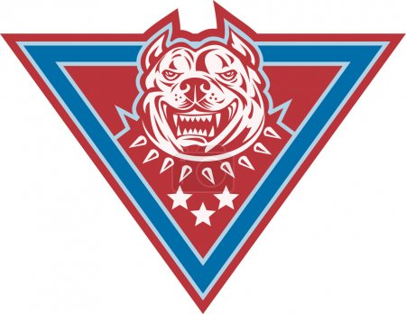 Pitbull Mongrel Dog Head Retro
