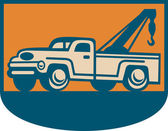 Retro illustration of a vintage tow wrecker pickup truck viewed from side