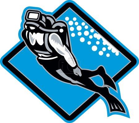 Scuba Diver Diving Retro