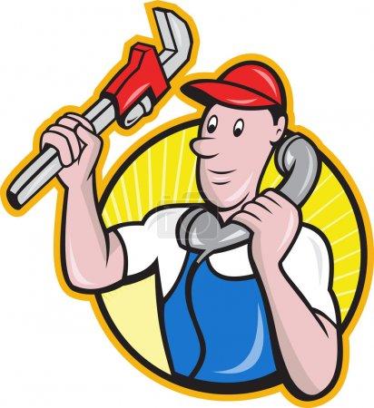 Illustration pour Illustration de bande dessinée d'un ouvrier plombier réparateur homme de métier avec clé à singe réglable parlant sur téléphone ensemble à l'intérieur cercle . - image libre de droit