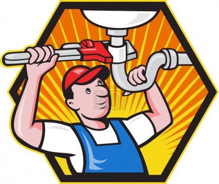 Illustration pour Illustration de bande dessinée d'un ouvrier plombier réparateur commerçant avec clé à singe réglable réparant lavabo de salle de bain fixé à l'intérieur hexagone . - image libre de droit