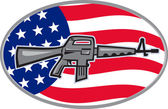 Illustration of an Armalite M-16 Colt AR-15 assault rifle with American stars and stripes flag set inside ellipse viewed from side