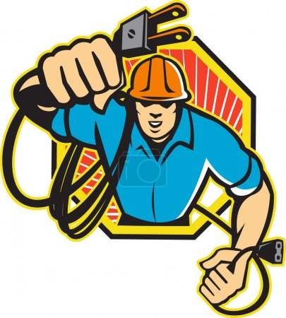 Electrician Construction Worker Retro