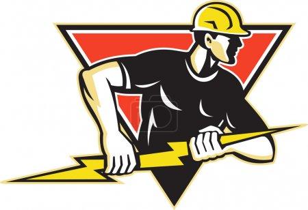 Illustration pour Illustration d'un ouvrier électricien tenant un éclair monté à l'intérieur d'un triangle fait dans un style rétro sur fond blanc isolé . - image libre de droit