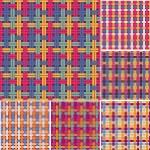 Colorful Wicker Seamless Pattern Set. Vector Backg...